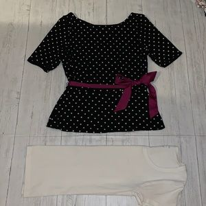 WHBM polka dot top & spandex tee SMALL SM vintage